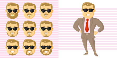 Businessman Face Set Cartoon character Vector illustration isolated on white background
