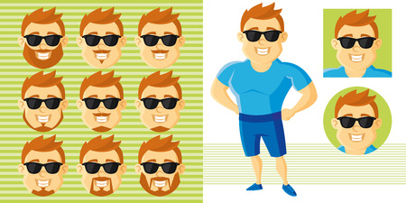 Summer Style Man Face Set Cartoon character Vector illustration isolated on white background