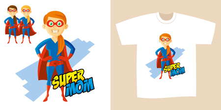 Superhero Woman Supermom Cartoon character Vector illustration