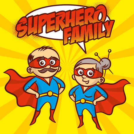 Superhero Family Superheroes Cartoon character Vector illustration