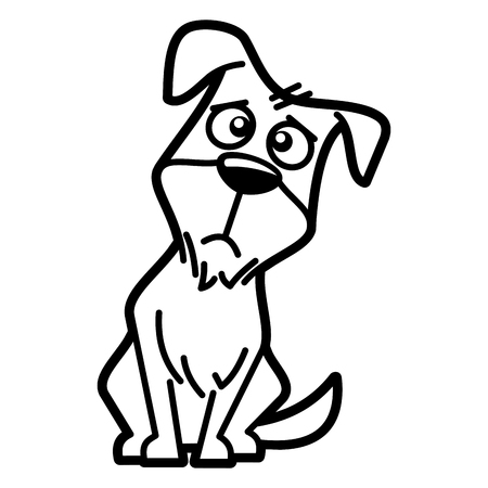 Dog Cartoon character Coloring page Black and white