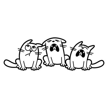 Cat Cartoon character Coloring page Black and white
