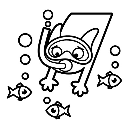 Cat Cartoon character Coloring page Black and white Stock Photo - 124260185