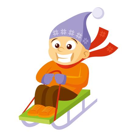 Boy sledding Cartoon character Winter Vector illustration Illustration