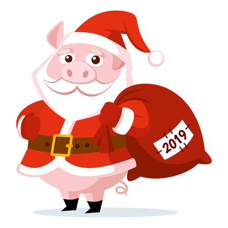 Cute funny cartoon Santa Claus Pig Vector illustration