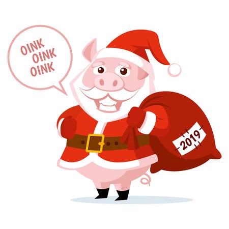 Cute funny cartoon Santa Claus Pig Vector illustration Stock Illustration - 124554079