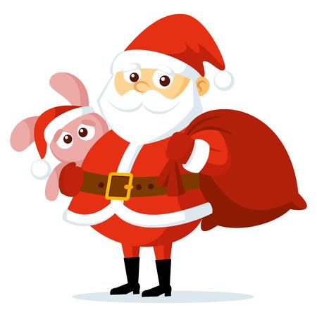 Cute funny cartoon Santa Claus Vector illustration