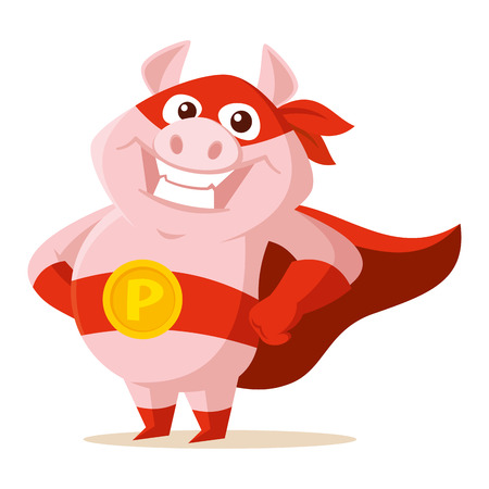 Cute superhero pig Vector illustration isolated on white background