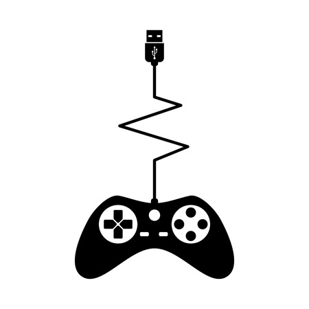 Black Silhouettes Joystick Gamer Isolated White Background Vector illustration