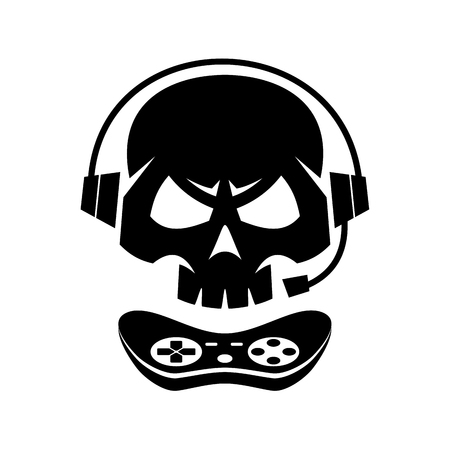 Black Silhouettes Joystick Gamer Skull Isolated White Background Vector illustration  イラスト・ベクター素材
