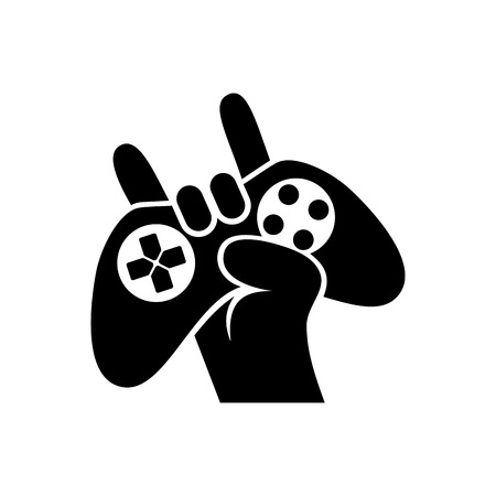 Black Silhouettes Joystick in hand Gamer Isolated White Background Vector illustration