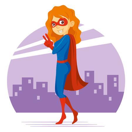 Superhero Woman Supermom Cartoon character Vector illustration