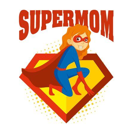 Superhero Woman Supermom Cartoon character Vector illustration Stock Vector - 134827477