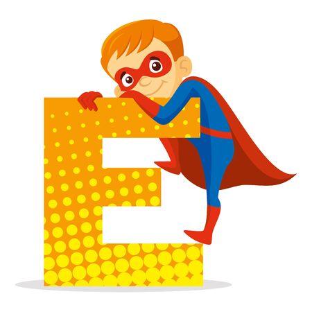 ABC Letter E Superhero Boy Cartoon character Vector illustration T-shirt design  イラスト・ベクター素材