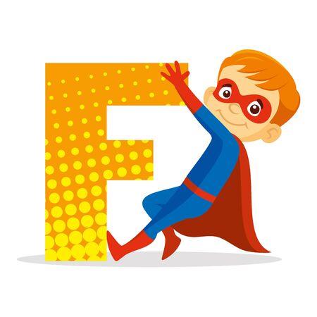 ABC Letter F Superhero Boy Cartoon character Vector illustration T-shirt design  イラスト・ベクター素材