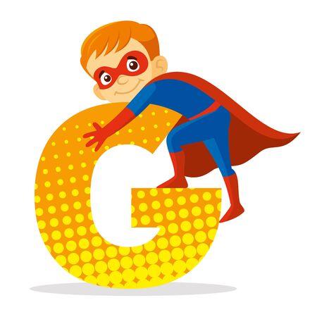 ABC Letter G Superhero Boy Cartoon character Vector illustration T-shirt design