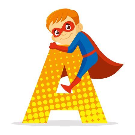 ABC Letter A Superhero Boy Cartoon character Vector illustration T-shirt design