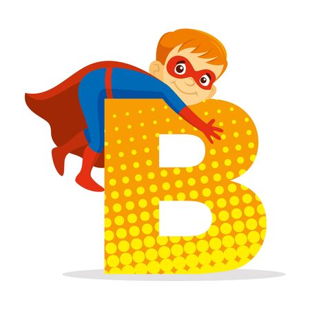 ABC Letter B Superhero Boy Cartoon character Vector illustration T-shirt design