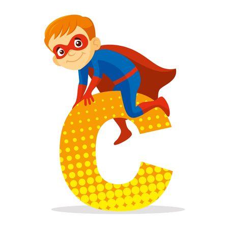 ABC Letter C Superhero Boy Cartoon character Vector illustration T-shirt design