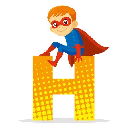 Letter H Superhero Boy Cartoon character Vector illustration T-shirt design
