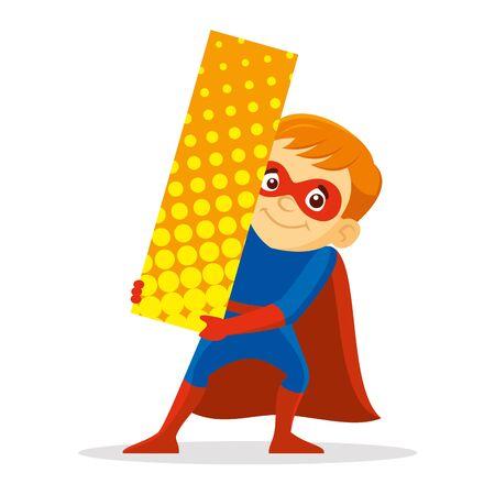 Letter i Superhero Boy Cartoon character Vector illustration T-shirt design