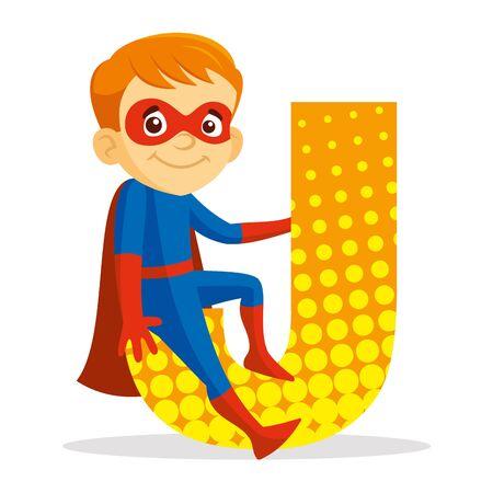 Letter J Superhero Boy Cartoon character Vector illustration T-shirt design  イラスト・ベクター素材