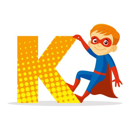 ABC Letter K Superhero Boy Cartoon character Vector illustration