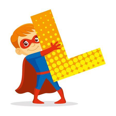ABC Letter L Superhero Boy Cartoon character Vector illustration  イラスト・ベクター素材