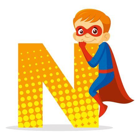 ABC Letter N Superhero Boy Cartoon character Vector illustration  イラスト・ベクター素材