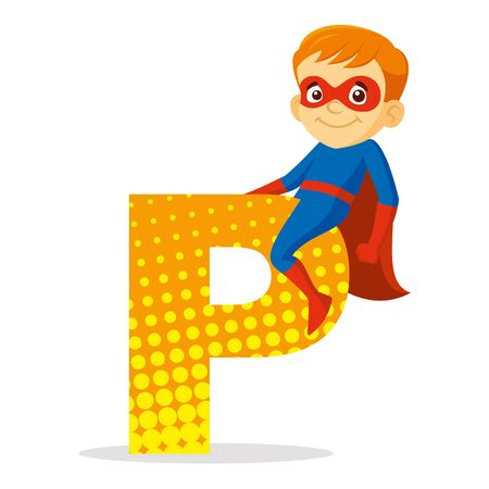 ABC Letter P Superhero Boy Cartoon character Vector illustration  イラスト・ベクター素材