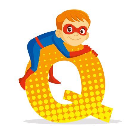 ABC Letter Q Superhero Boy Cartoon character Vector illustration