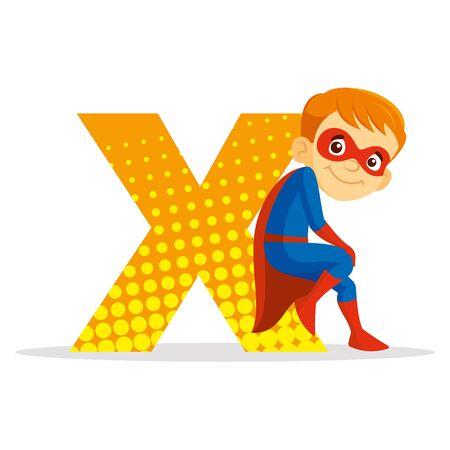 ABC Letter X Superhero Boy Cartoon character Vector illustration