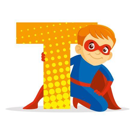 ABC Letter T Superhero Boy Cartoon character Vector illustration