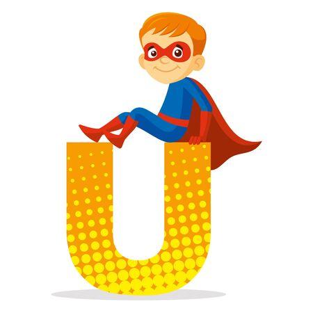 ABC Letter U Superhero Boy Cartoon character Vector illustration