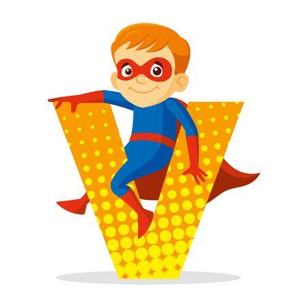 ABC Letter V Superhero Boy Cartoon character Vector illustration