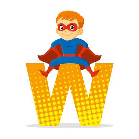ABC Letter W Superhero Boy Cartoon character Vector illustration