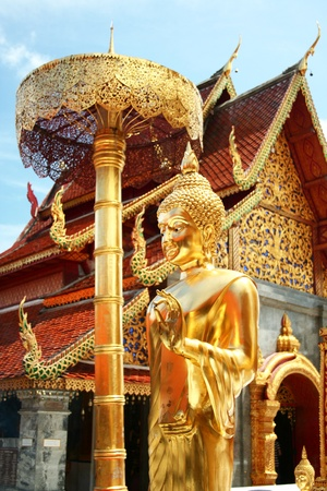 The golden buddha staue and temple