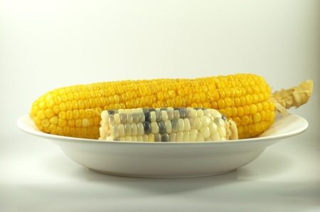 Boiled yellow and white corn