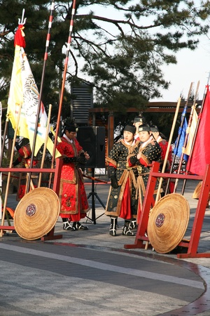 SEOUL, SOUTH KOREA � DECEMBER, 18: Actors prepare to perform the martial art at Seoul Tower park. They dress in traditional warrior suit and ready to fight on December 18, 2011