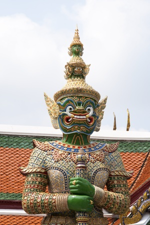 The legend giant stands in the temple of the emerald buddha, Bangkok Thailand