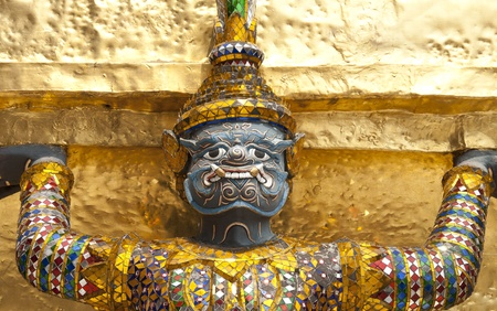 A legend giant decorated at the golden pagoda basement in the grand palace, bangkok Thailand