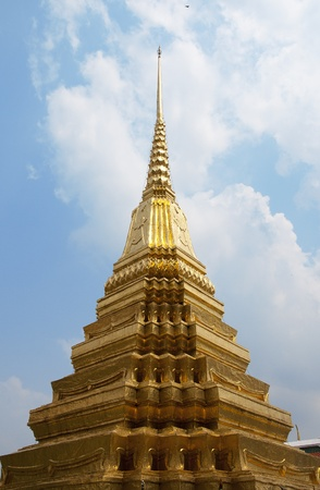 A beautiful golden pagoda in the grand palace, Bangkok Thailand Stock Photo