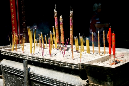 Many incenses at chinese temple in Hong Kong