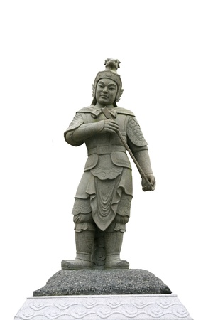 Chinese soldier sculpture isolated on white background