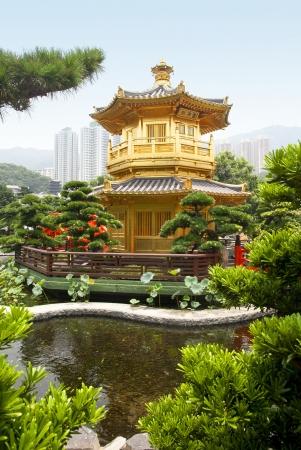 A golden pagoda in Nan Lian garden, Hong Kong photo