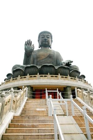black giant mountain: Big buddha statue, Lantau, Hong Kong Stock Photo
