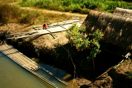 A bamboo raft created and floating along the river Stock Photo - 15022956