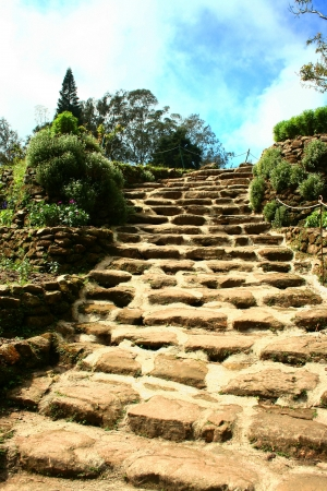 The stone ladder step to the mountain Stock Photo