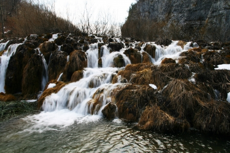 One of waterfall in Plivice National Park, Croatia Stock Photo