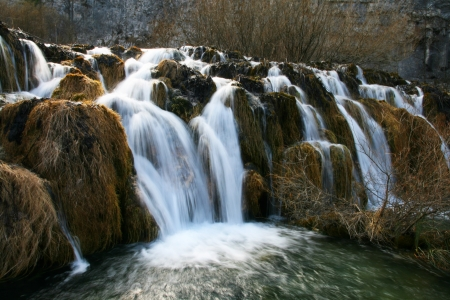 One of waterfalls in winter, Plivice National Park, Croatia